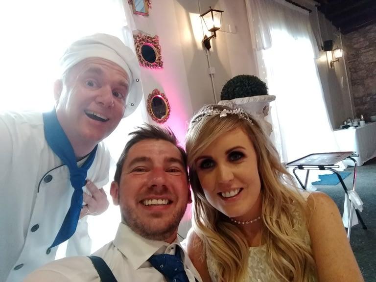 Singing chef wedding selfie